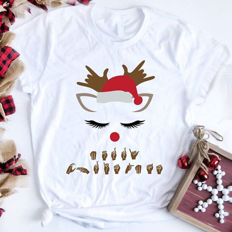 Hand Symbol Christmas Shirt White B7