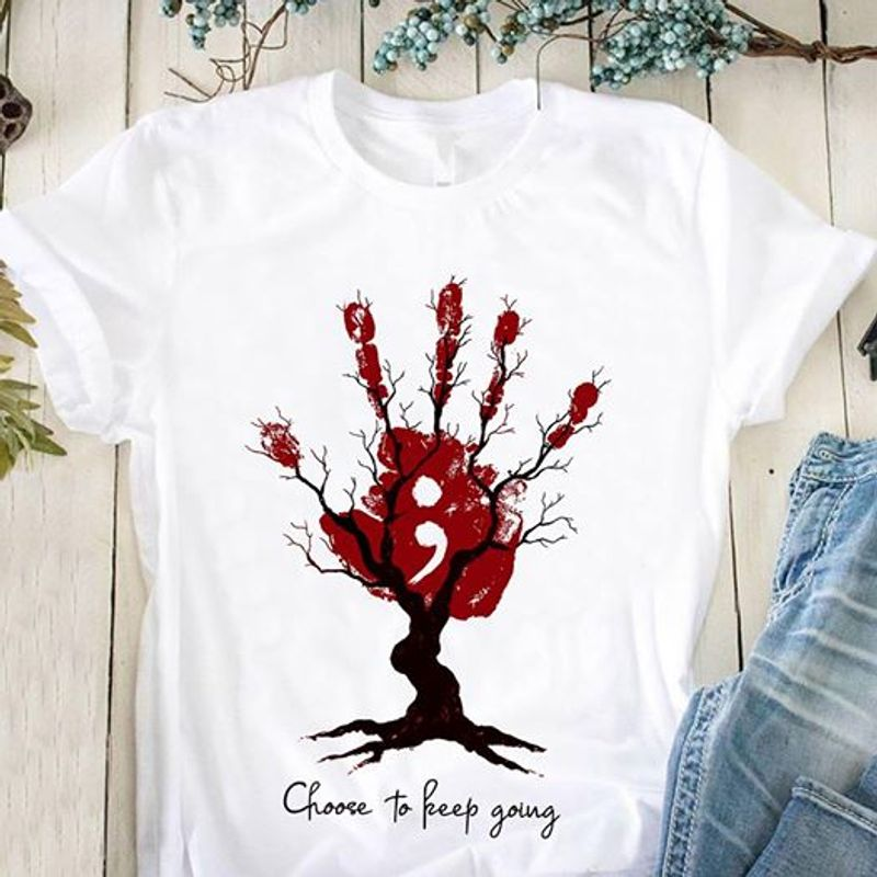 Handprint Tree Semicolon Choose To Keep Going T Shirt White A3
