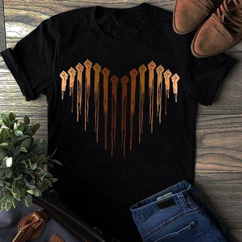 Hands Heart Black T Shirt Men/ Woman S-6XL Cotton