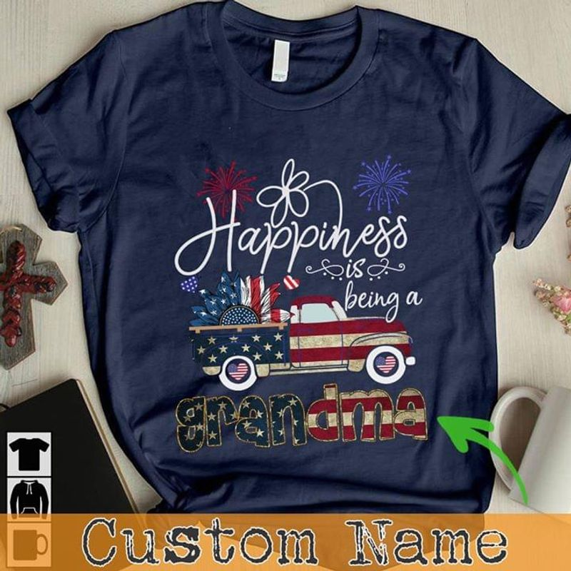 Happiness Is Being A Grandma Independence Day 4th Of July Customized Names Navy T Shirt Men/ Woman S-6XL Cotton