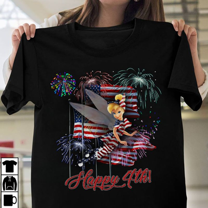 Happy 4th Flag T-shirt Black A8
