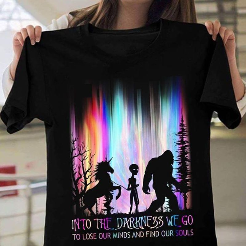 Happy Halloween Bigfoot Alien & Unicorn Into The Darkness T-Shirt Funny Halloween Gift Black T Shirt Men And Women S-6XL Cotton