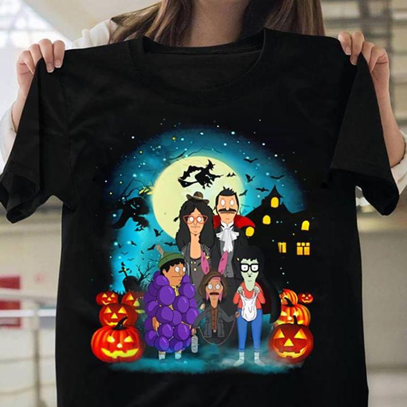 Happy Halloween Bob's Burger Disney Pumpkin Witch T-Shirt Halloween Gift Black T Shirt Men And Women S-6XL Cotton