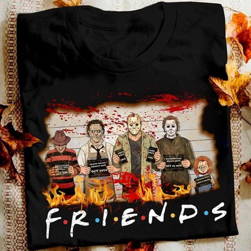Happy Halloween Friends Horror Movie Characters T-shirt Funny Halloween Gift Black T Shirt Men And Women S-6XL Cotton