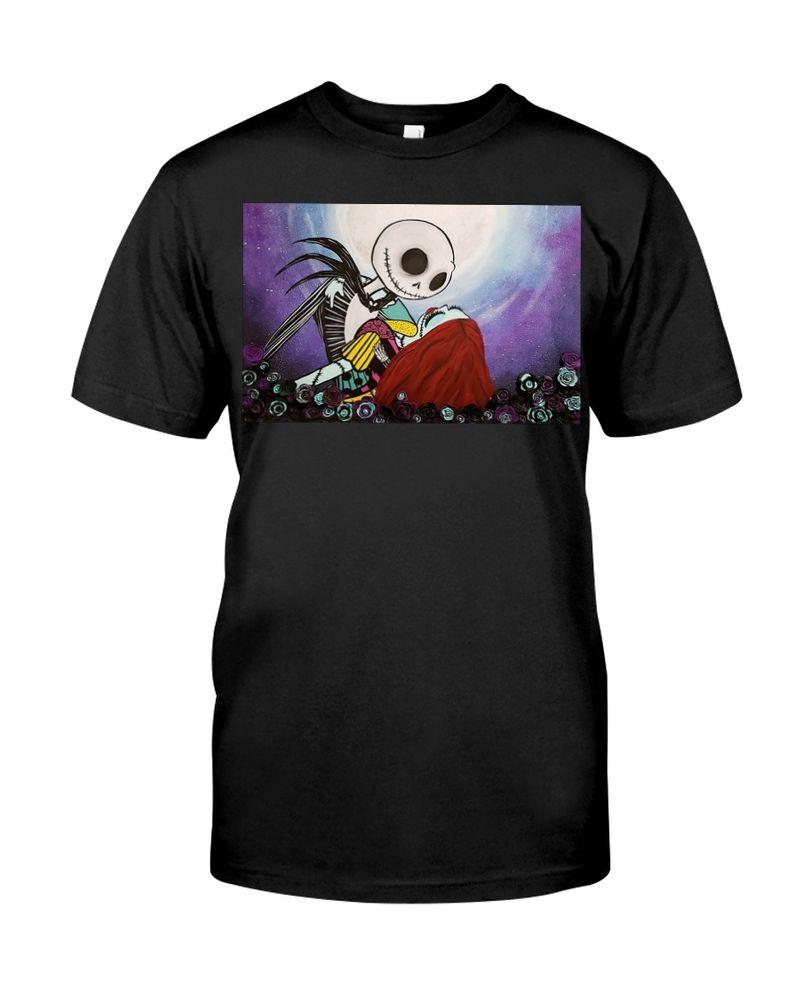 Happy Halloween Jack & Sally In Love T-Shirt Best Shirt For Halloween Black T Shirt Men And Women S-6XL Cotton