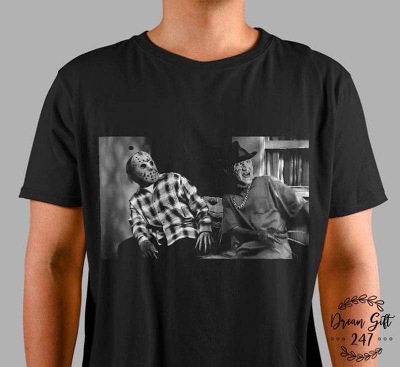 Happy Halloween Jason Voorhees And Freddy Krueger Friday T-Shirt Halloween Gift Black T Shirt Men And Women S-6XL Cotton