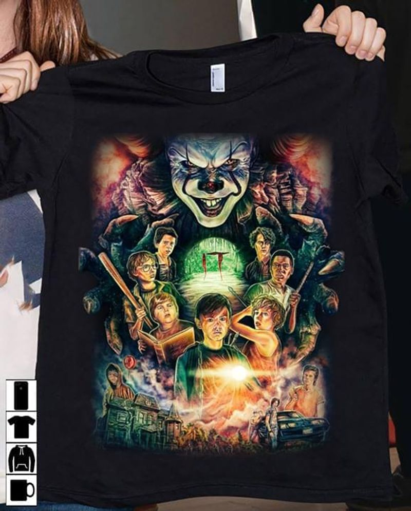 Happy Halloween Pennywise It Clown Horror Movie T-Shirt Halloween Gift Black T Shirt Men And Women S-6XL Cotton