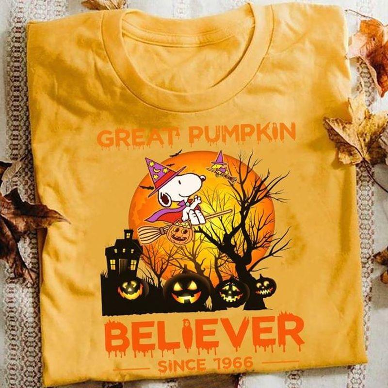 Happy Halloween Snoopy Great Pumpkin Believer Since 1966 T-Shirt Halloween Gift Gold T Shirt Men And Women S-6XL Cotton