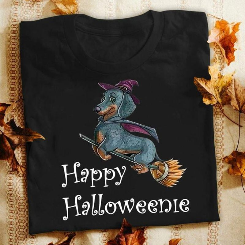Happy Halloweenie Dachshund In Halloween Costume Halloween Gift For Dog Lovers Black T Shirt Men And Women S-6XL Cotton