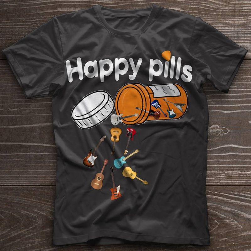Happy Pills Guitars T-shirt Black A8