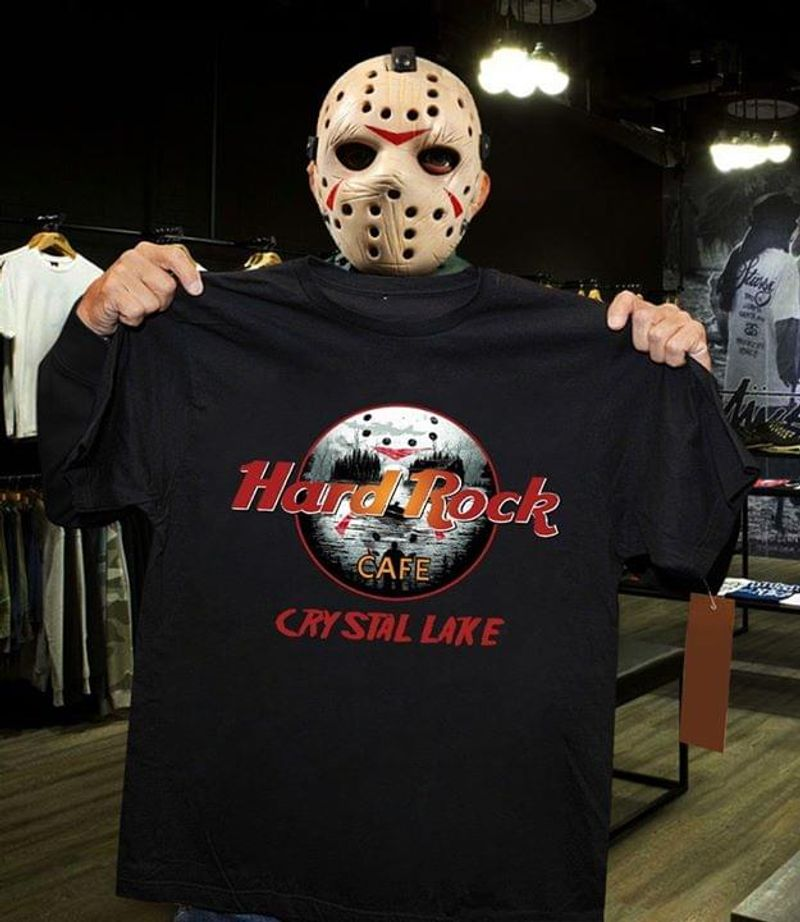 Hard Rock Cafe Symbol Crystal Lake Suitable For Group Of Boys Who Like Classical Style Black T Shirt Men And Women S-6XL Cotton
