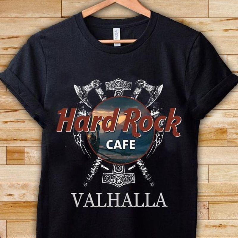 Hard Rock Cafe Valhalla Viking T-shirt Norse Odin Viking Mythology Black T Shirt Men And Women S-6XL Cotton