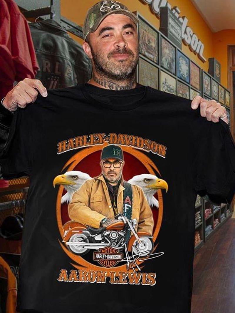 Harley Davidson Aaron Lewis Signature Black T Shirt Men/ Woman S-6XL Cotton