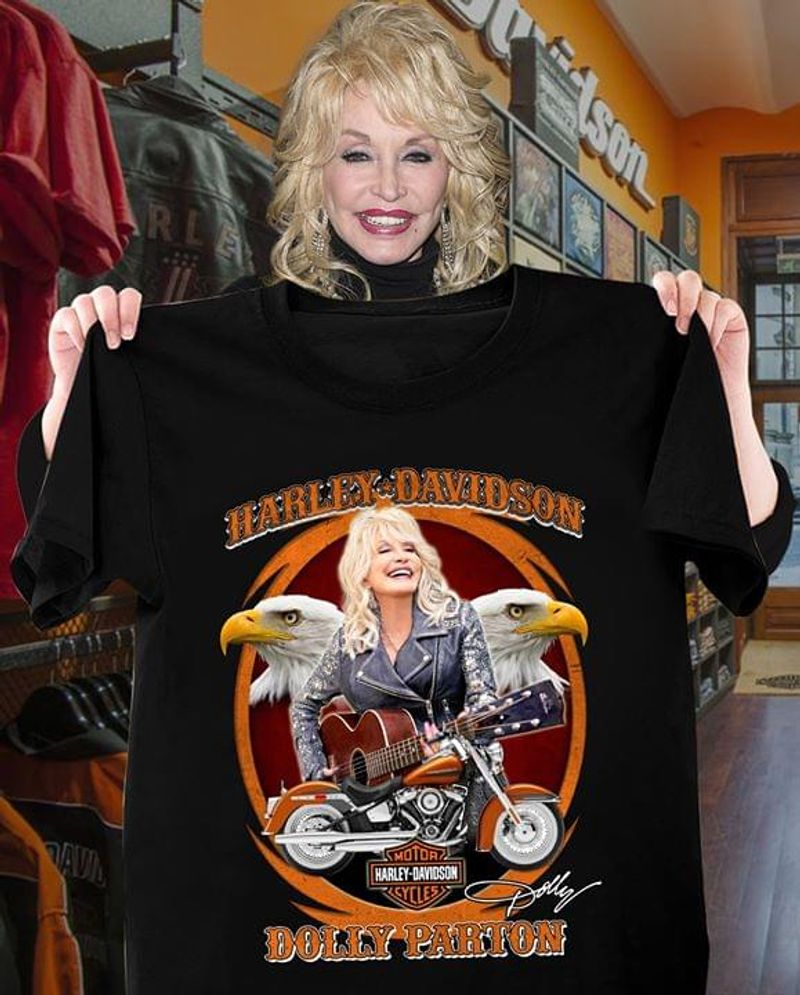 Harley Davidson Dollu Parton Signature Black T Shirt Men/ Woman S-6XL Cotton