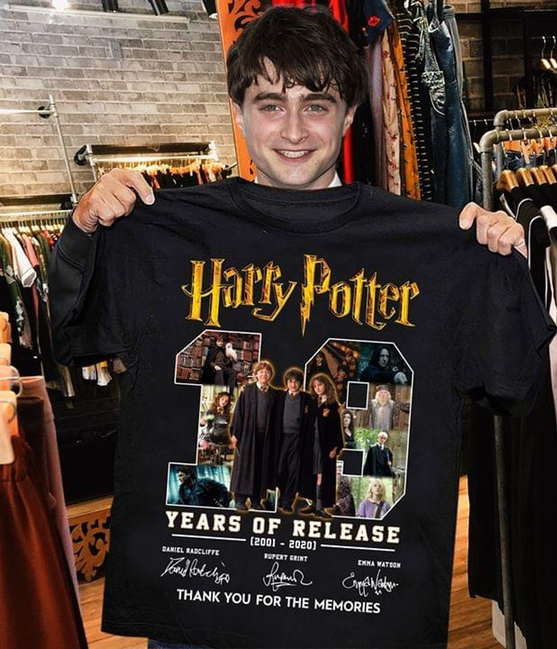 Harry Potter 19 Years Of Release T-Shirt Harry Potter Anniversary Signature Black T Shirt Men And Women S-6XL Cotton