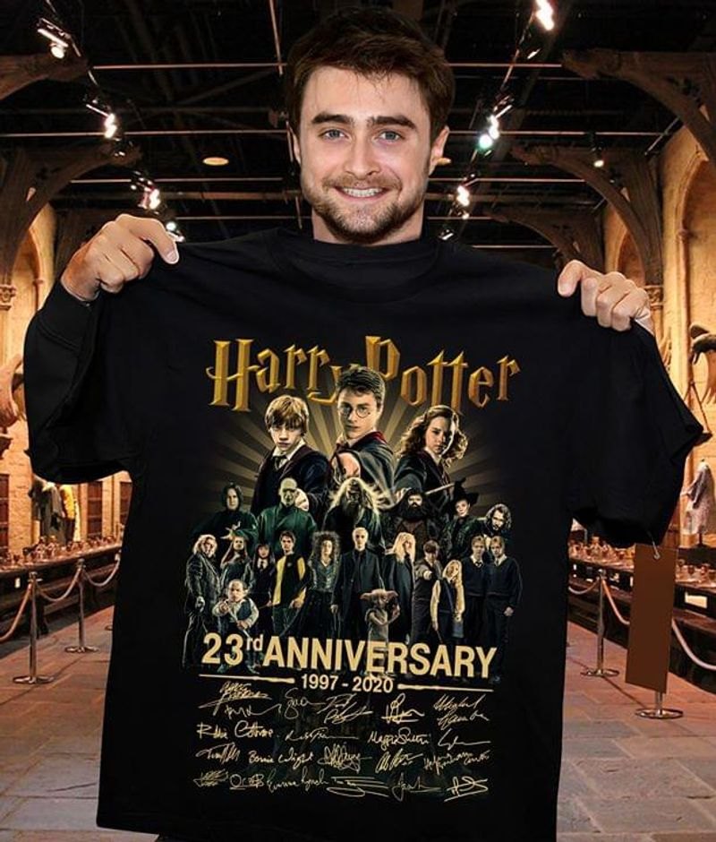 Harry Potter 23Rd Anniversary 1997-2020 All Signature Black  T Shirt Men/ Woman S-6XL Cotton