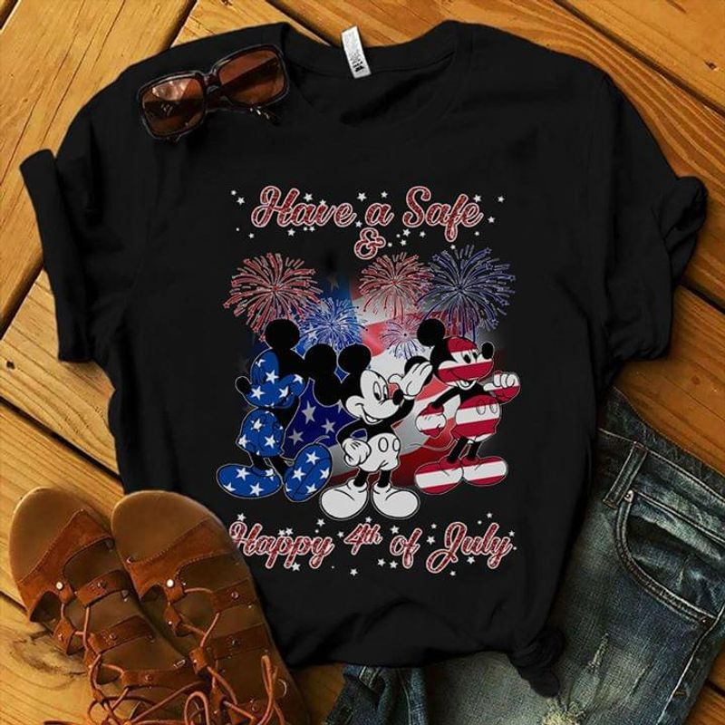 Have A Safe Mickey Mouse Happy Independence Day 4th Of July Black T Shirt Men/ Woman S-6XL Cotton
