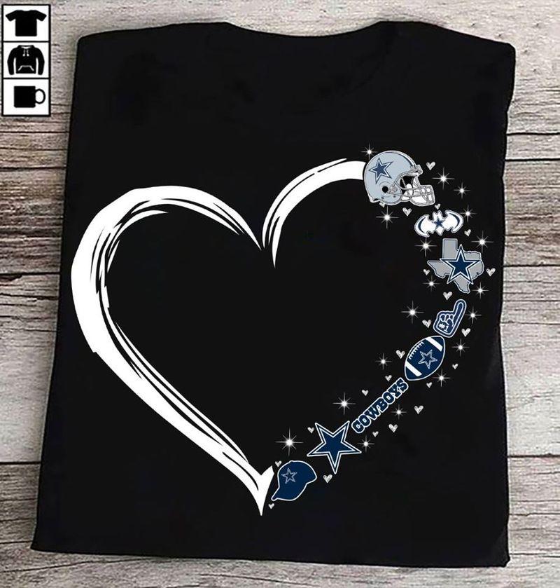 Heart Dallas Cowboy T Shirt Black