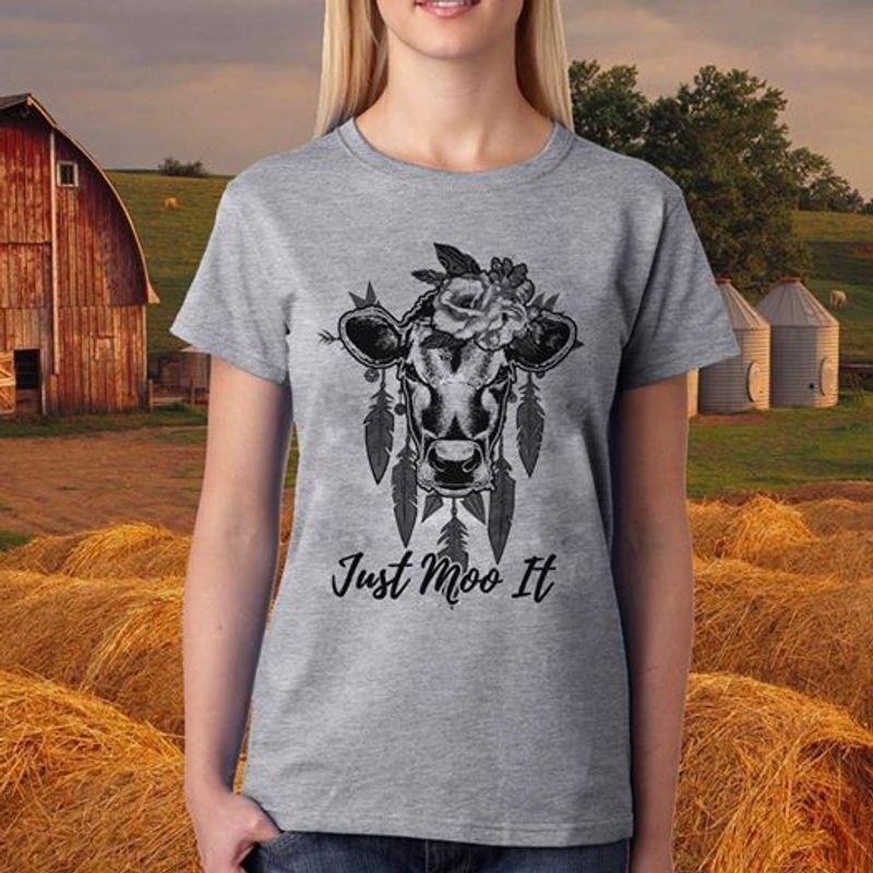 Heifer Just Moo It  T-shirt Grey A5