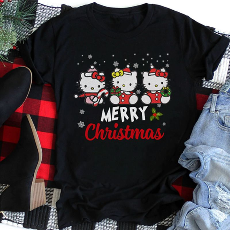 Hello Kitty Merry Christmas T Shirt Black A5
