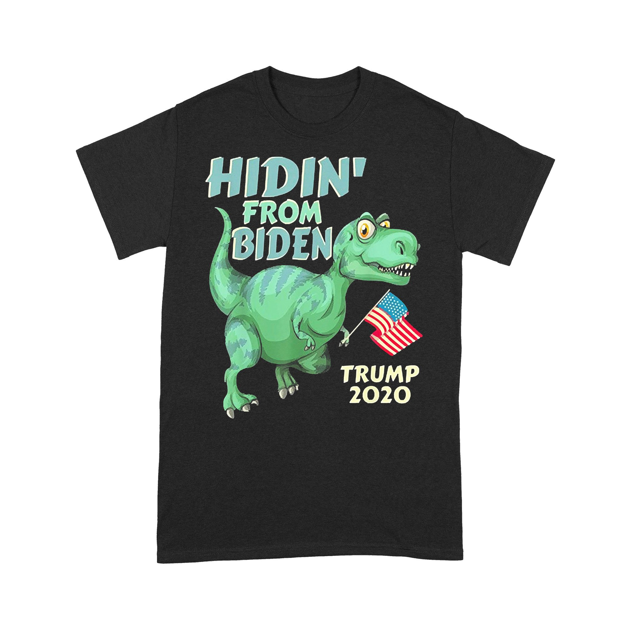 Hiding From Biden Usa Flag T Rex Trump 2020 T-shirt