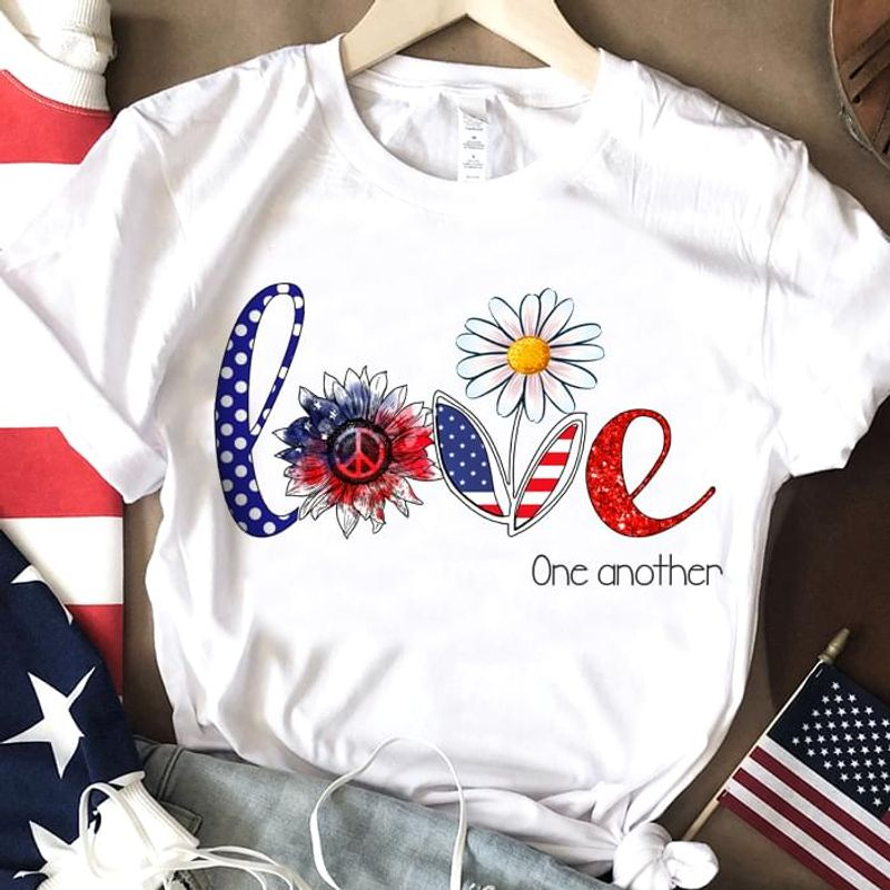 Hippie Flower American Flag One Another Independence Day 4th Of July T Shirt White S-6XL Men And Women Clothing