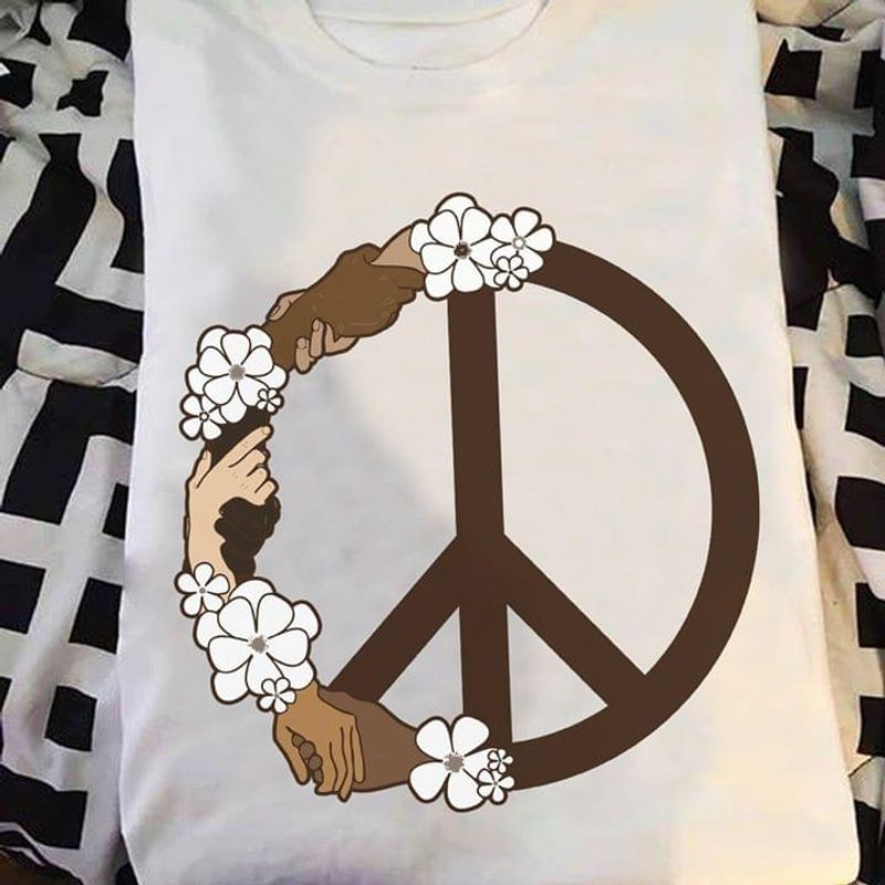 Hippie Peace Sign Hand T-Shirt Hippie Symbol Holding Hands Unity Anti-Racism Equality White White T Shirt Men And Women S-6XL Cotton
