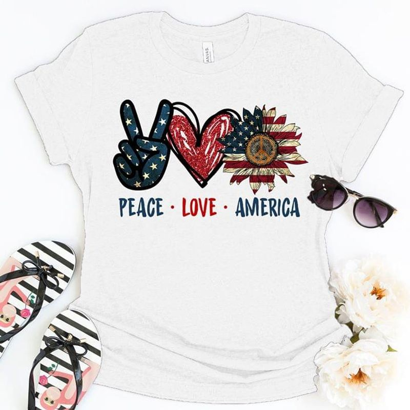 Hippies Peace Love America American Flag 4Th July Independence Day White Men And Women Shirt