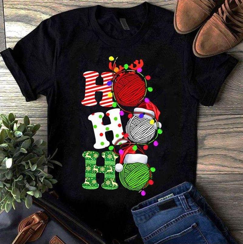 Ho Ho Ho Christmas Crochet & Knitting Color Lights Christmas Gift Idea Black T Shirt Men And Women S-6XL Cotton