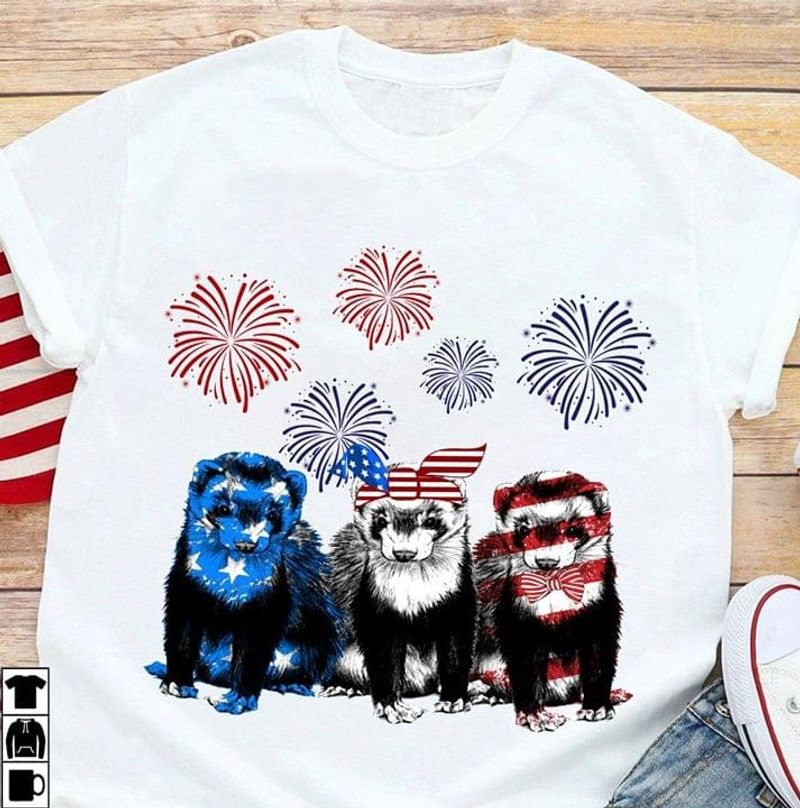Hog Nosed Skunk US Flag Independence Day 4th Of July White T Shirt Men/ Woman S-6XL Cotton