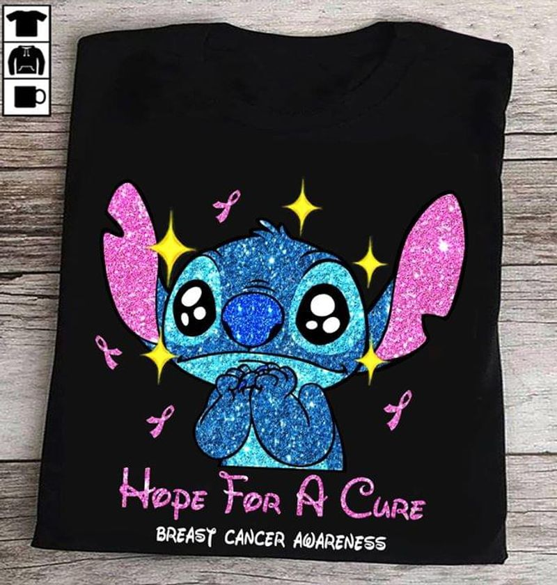 Hope For A Cure Breast Cancer Awareness Autism Black T Shirt Men And Women S-6XL Cotton