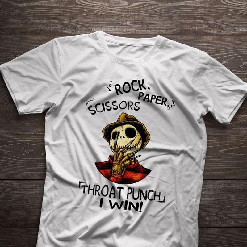 Horror Freddy Jack Skellington Rock Paper Scissors Throat Punch I Win Halloween Gift White T Shirt Men And Women S-6XL Cotton