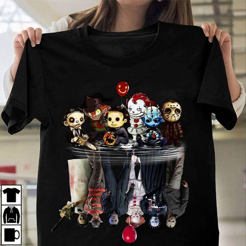Horror Movie Evil Villains Chibi Water Reflection Halloween Gift Idea Black T Shirt Men And Women S-6XL Cotton