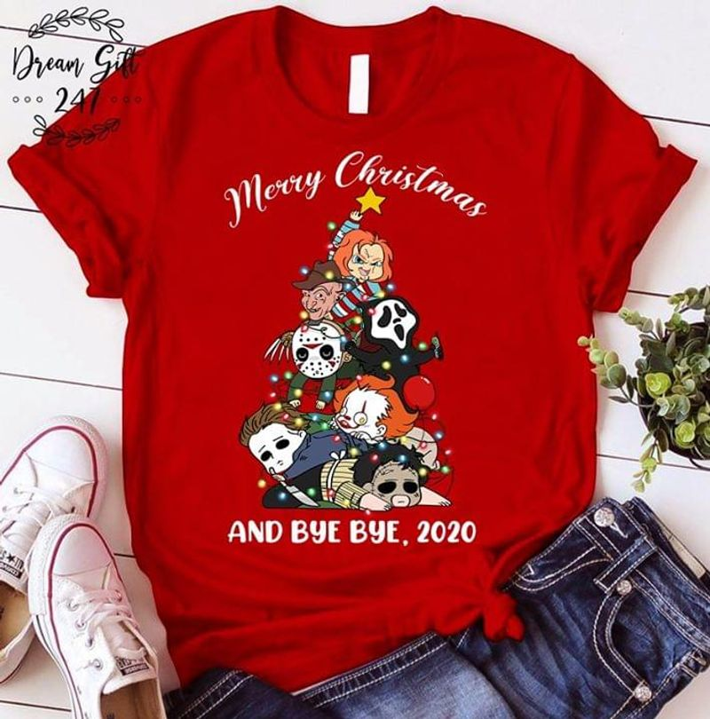 Horror Movie Fans Merry Christmas And Bye Bye 2020 Halloween Night Tee Red T Shirt Men And Women S-6XL Cotton