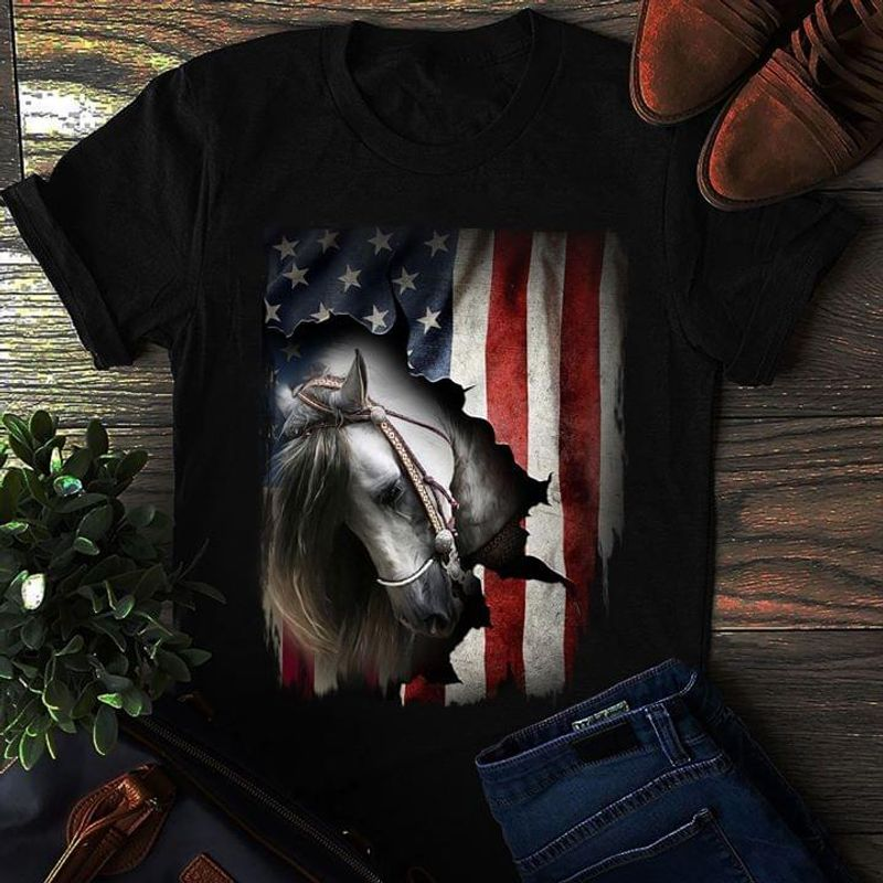 Horse All Around Us Flag Gift For 4Th Of July Independence Day Black T Shirt Men/ Woman S-6XL Cotton