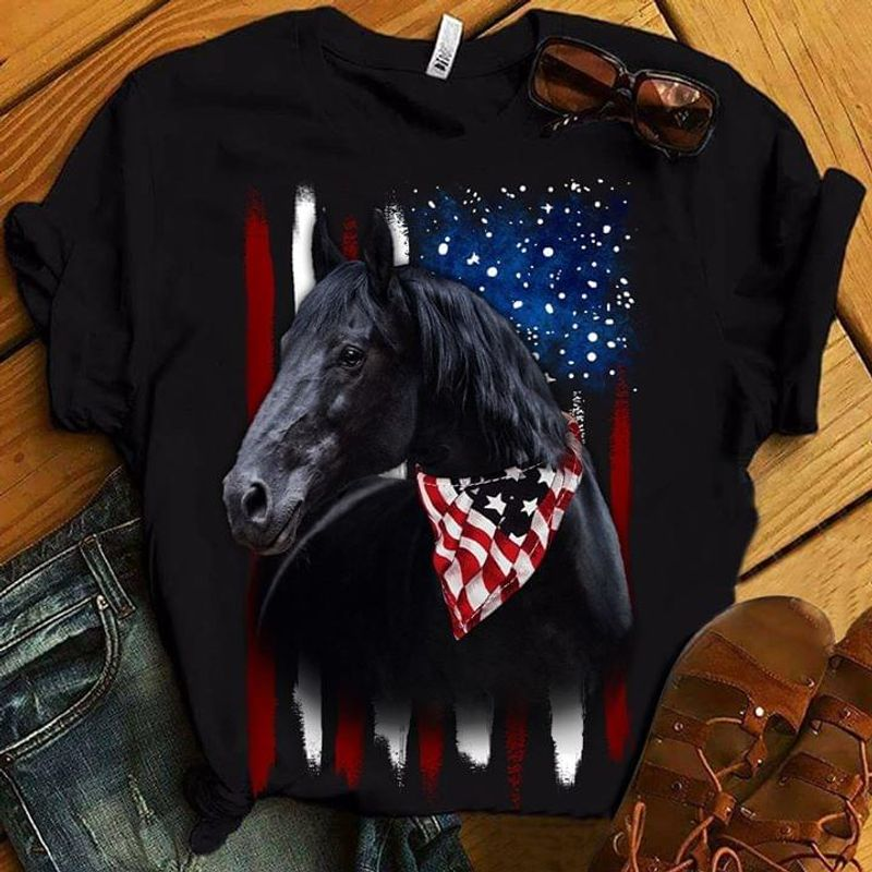 Horse American Flag 4Th July Independence Day Black Men And Women Shirt