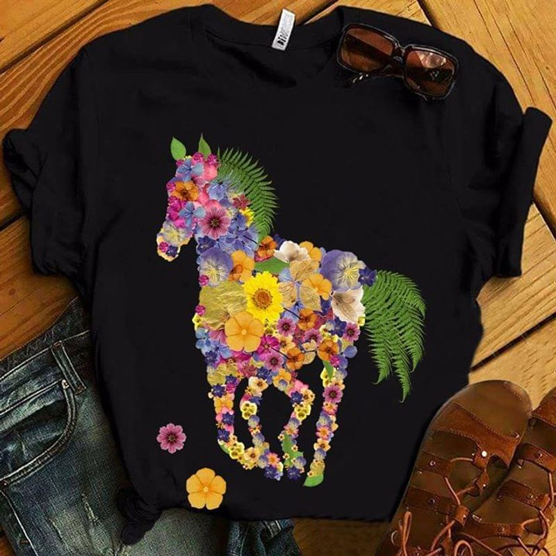 Horse Pressed Flowers T Shirt S-6XL Mens And Women Clothing