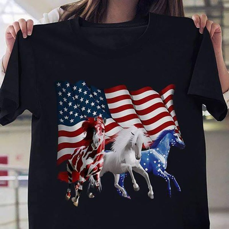 Horses American Flag Independence Day Black T Shirt Men/ Woman S-6XL Cotton