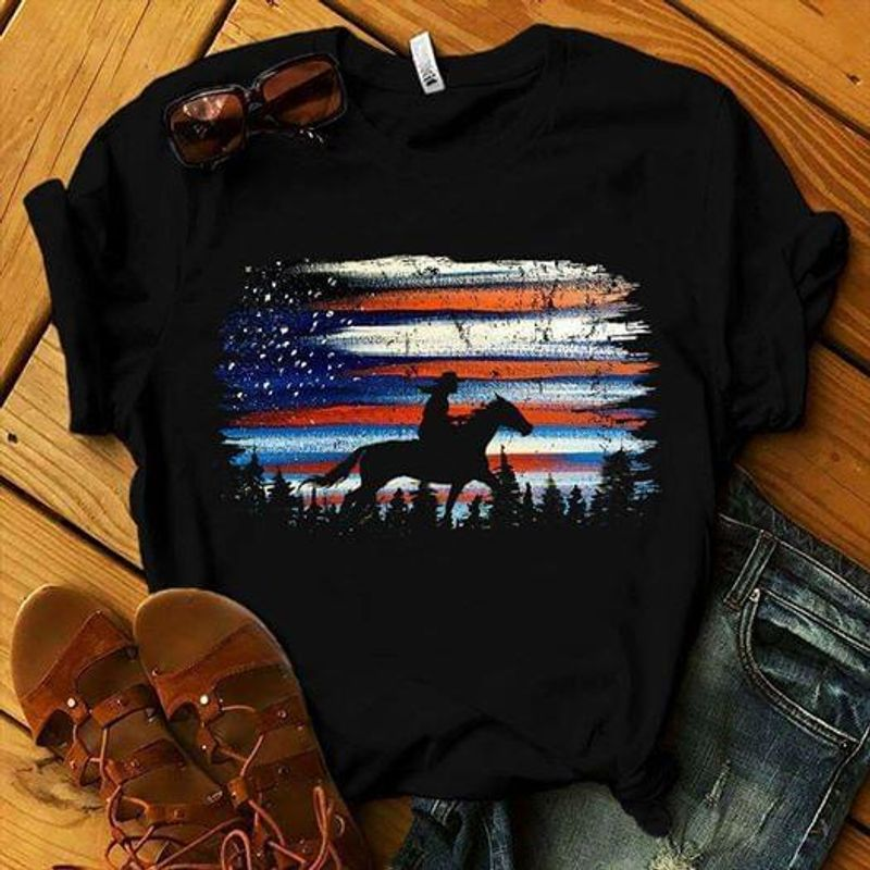 Horses Lovers US Flag Independence Day 4th Of July Black T Shirt Men/ Woman S-6XL Cotton