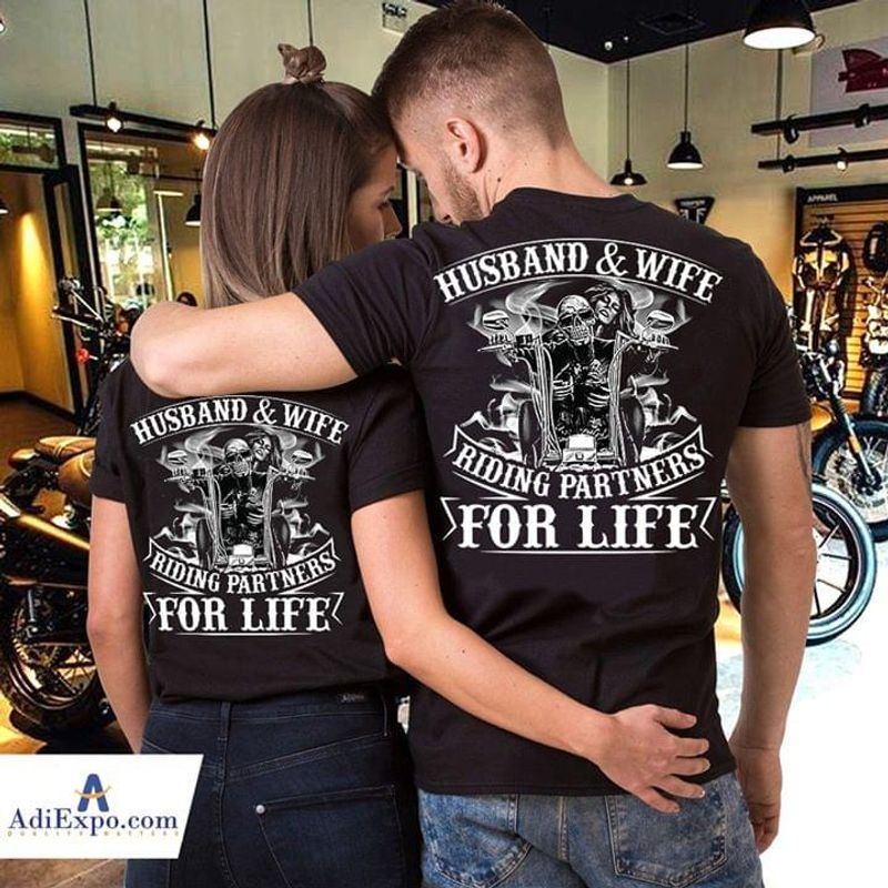 Hot Skull Biker Husband And Wife Riding Partners For Life Shirt Gift For Couple Black Shirt