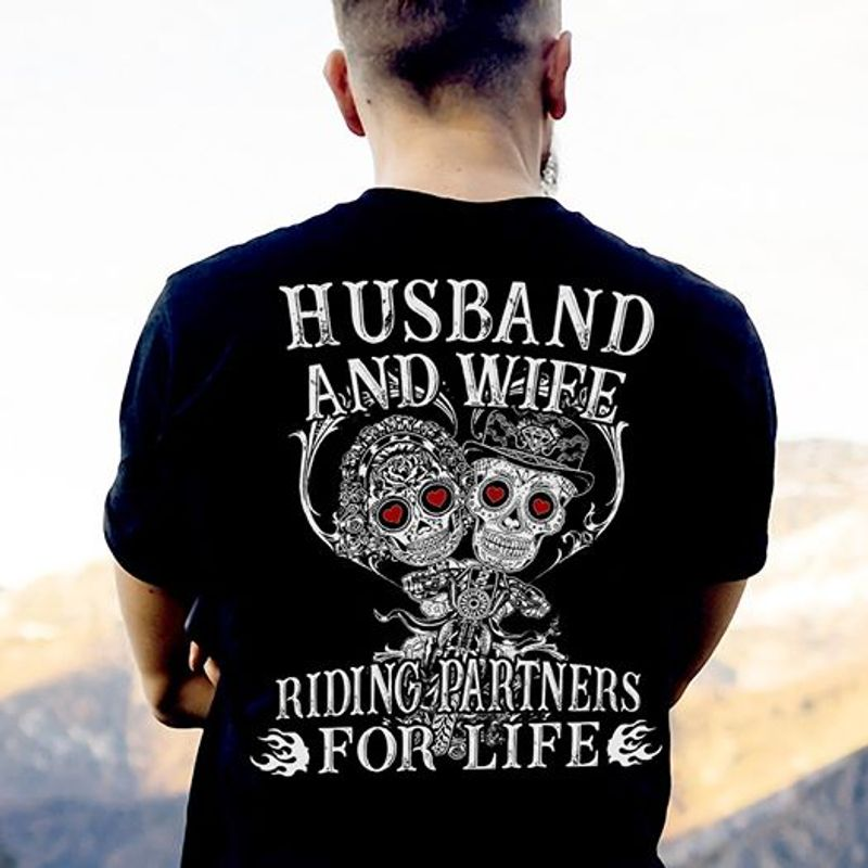 Husband And Wife Riding Partners For Life T-shirt Black B1