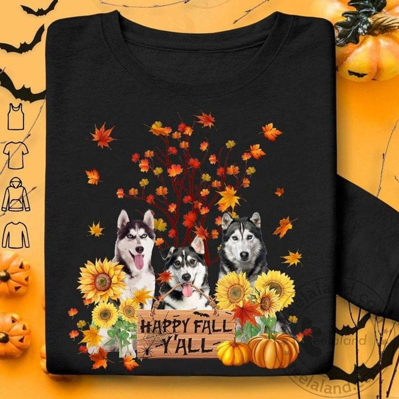 Husky Sunflowers Happy Fall Y'all Pumpkins Halloween Gift Idea For Dog Lovers Black T Shirt Men And Women S-6XL Cotton