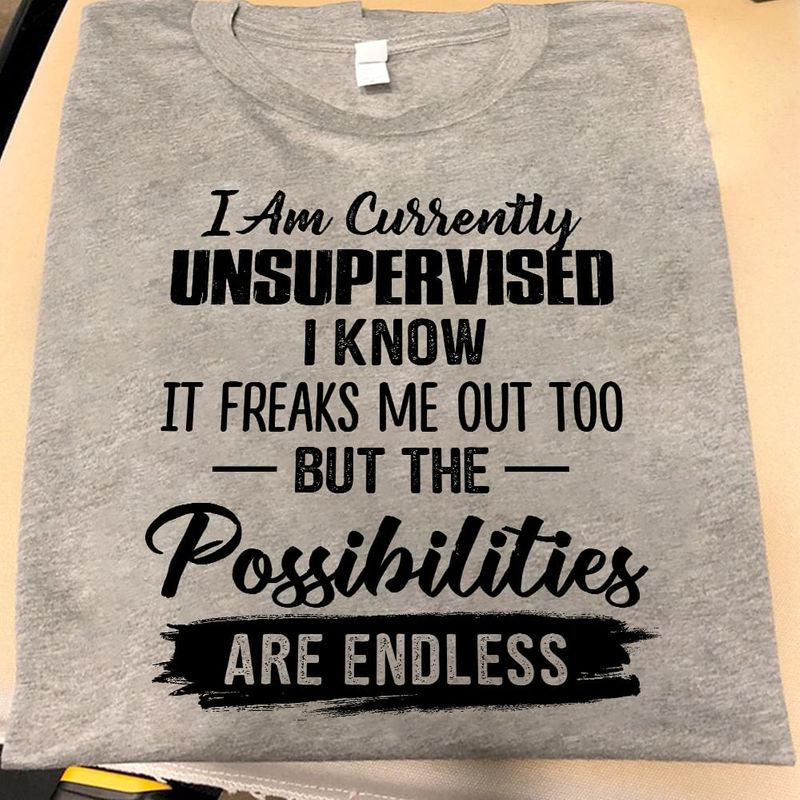 I Am Currently Unsupervised I Know But The Possibilities Are Endless Sport Grey T Shirt Men/ Woman S-6XL Cotton