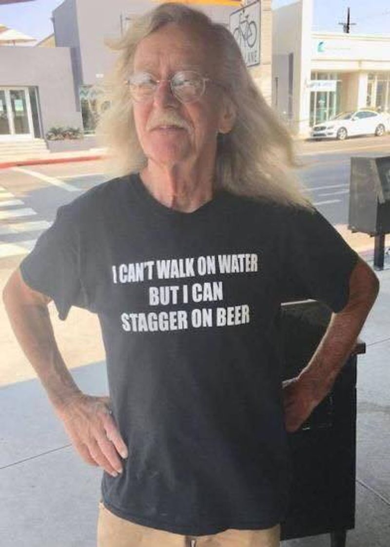 I Cant Walk On Water But I Can Stagger On Beer T-Shirt Black A5
