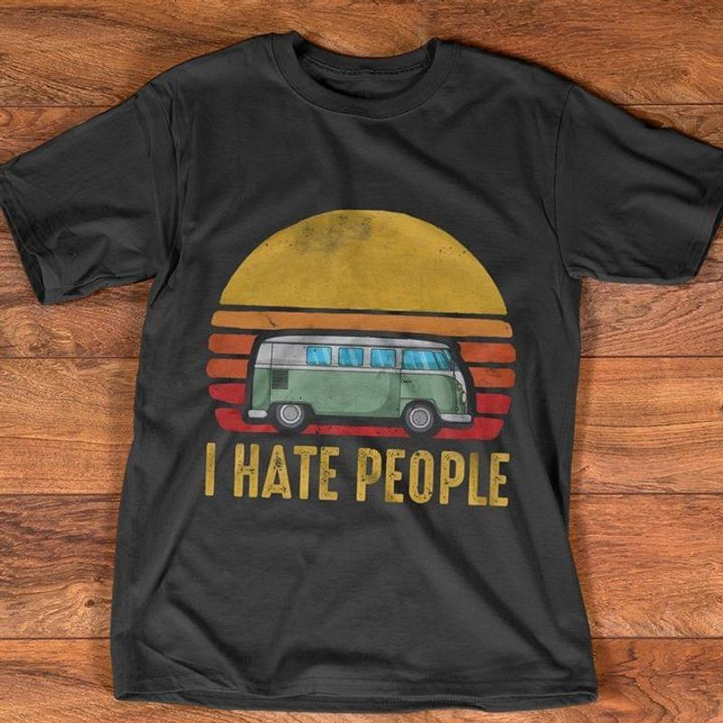 I Hate People Car Sun Vintage Awesome Gift For Youth Wearing Go To School Black  T Shirt Men/ Woman S-6XL Cotton