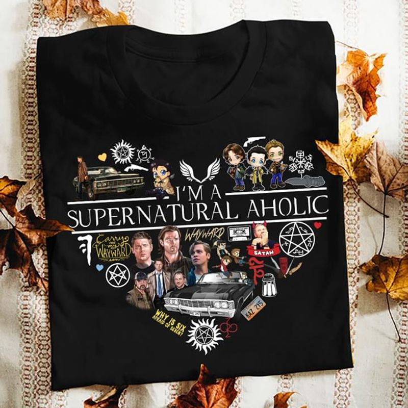I'm A Supernatural Aholic Heart Satan Awesome Gift For People Who Love Supernatural Wholeheartedly Black T Shirt S-6xl Mens And Women Clothing