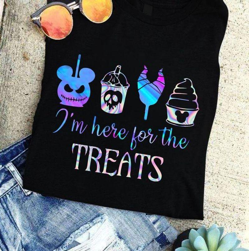 I'm Here For The Treats Tee Jack Skellington Maleficent Halloween Cake Cute Art Black T Shirt Men And Women S-6XL Cotton