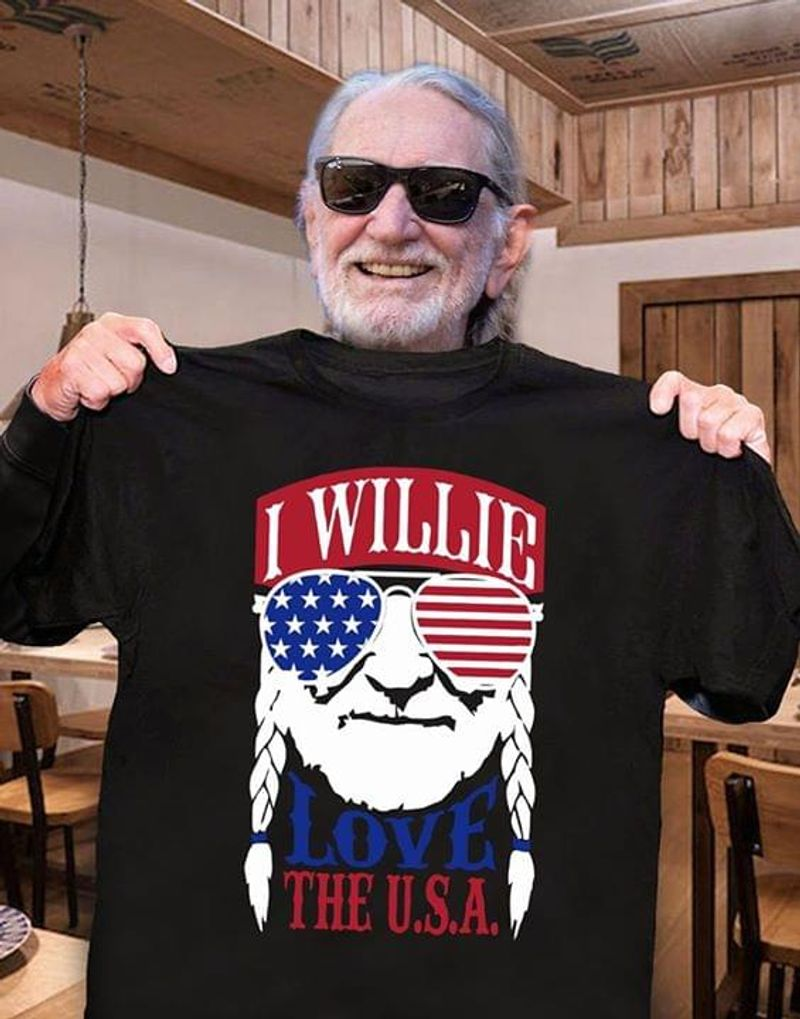 I Willie Love The USA Independence Day 4th Of July Black T Shirt Men/ Woman S-6XL Cotton