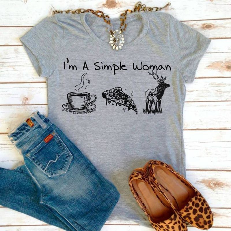 Im A Simple Woman Love Coffee Pizza Reindeer  T-Shirt Grey A4