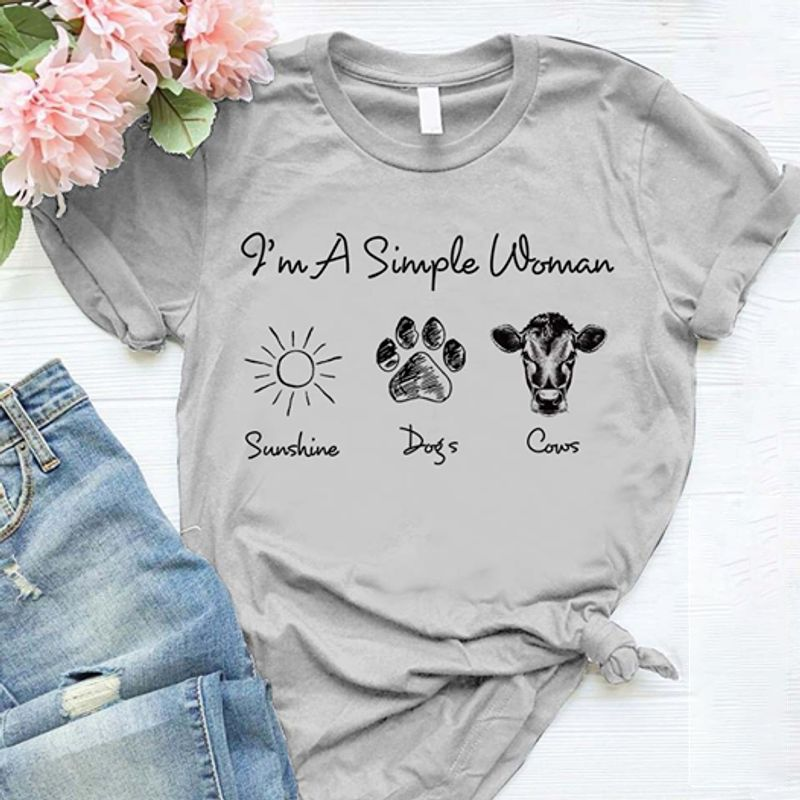Im A Simple Woman Sunshine Dogs Cows T-Shirt Grey